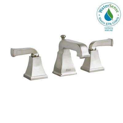 Town Square Curved Lever 8 in. Widespread 2-Handle Low-Arc Bathroom Faucet in Brushed Nickel