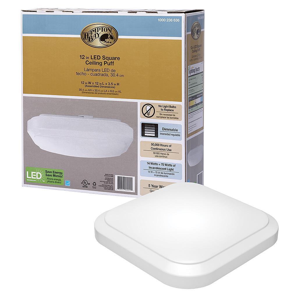 12 in. White Square LED Flush Mount Ceiling Light 1000 Lumens 4000K Bright White Dimmable 14-Watt Energy Star Rated