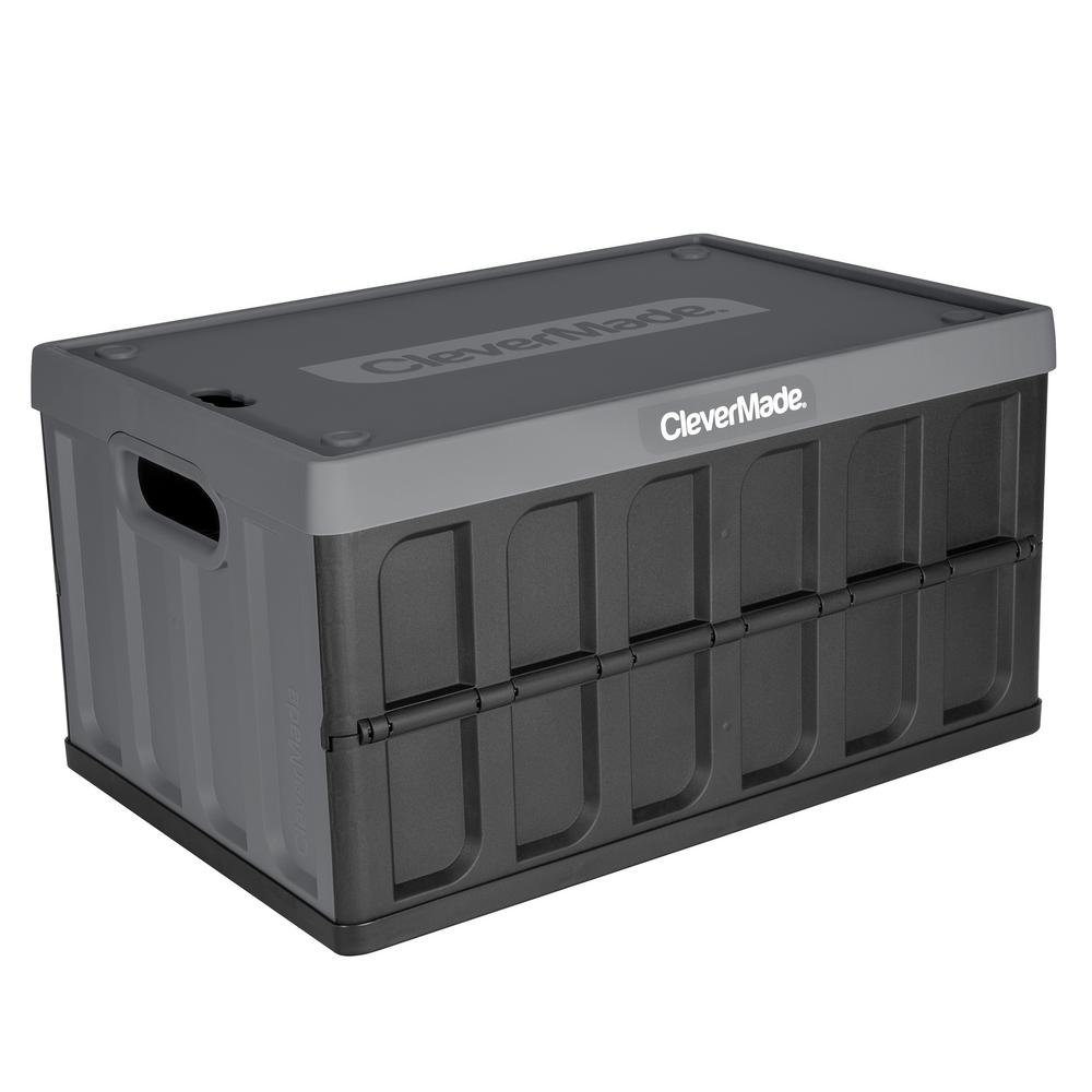 46 L Collapsible Storage Crate With Lid In Charcoal Black