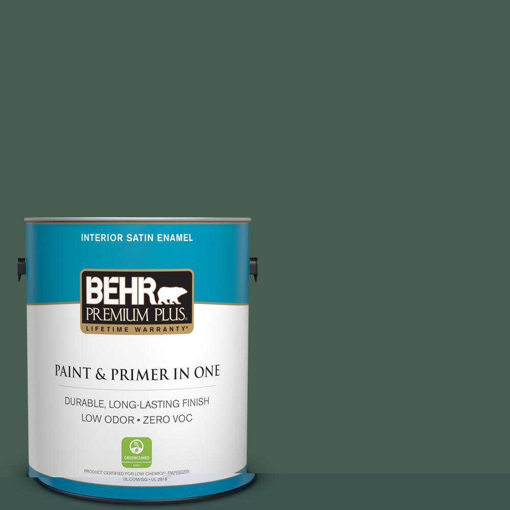 1-gal. #450F-7 Hampton Green Zero VOC Satin Enamel Interior Paint