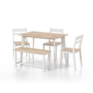 5-Piece Furniture of America Hart Dining Set w/ Bench