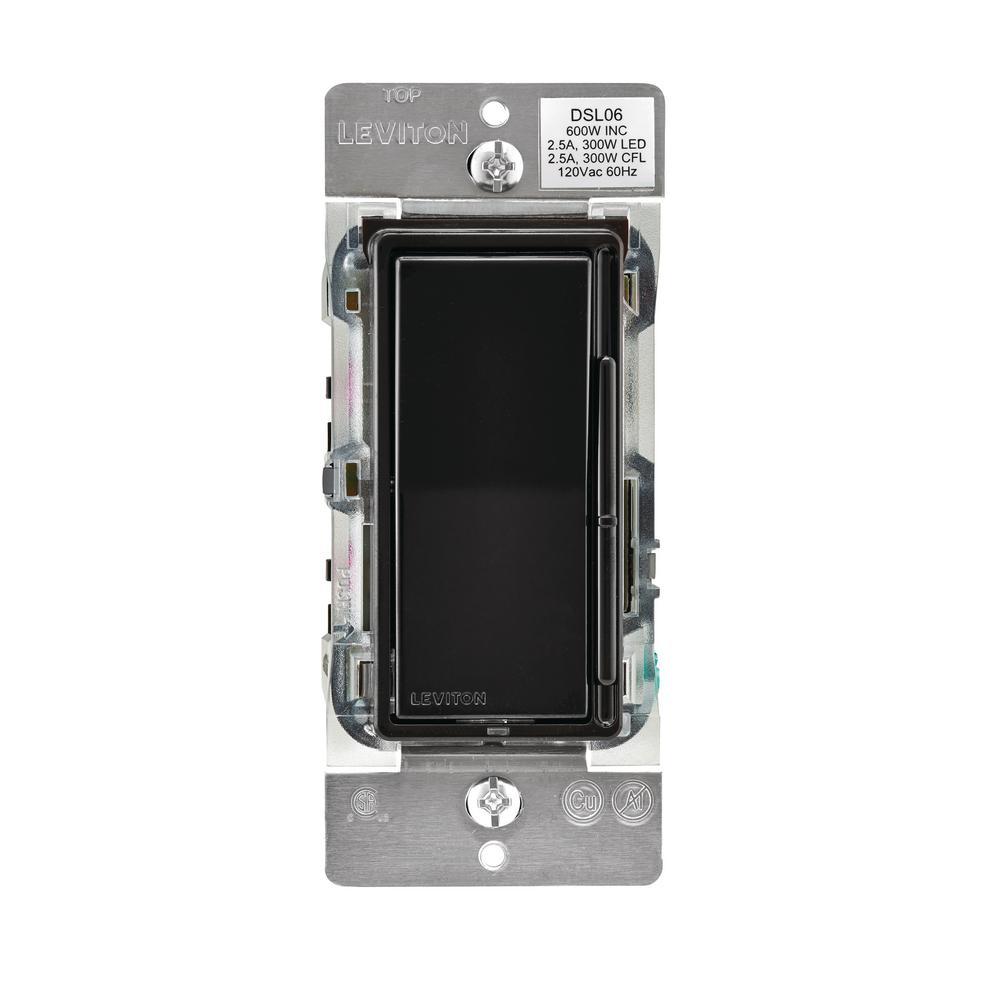 Decora 600-Watt Single-Pole/3-Way Universal Rocker Slide Dimmer, Black