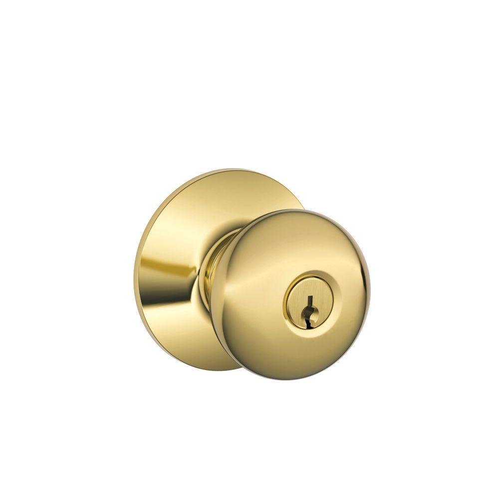 Plymouth Bright Brass Keyed Entry Door Knob
