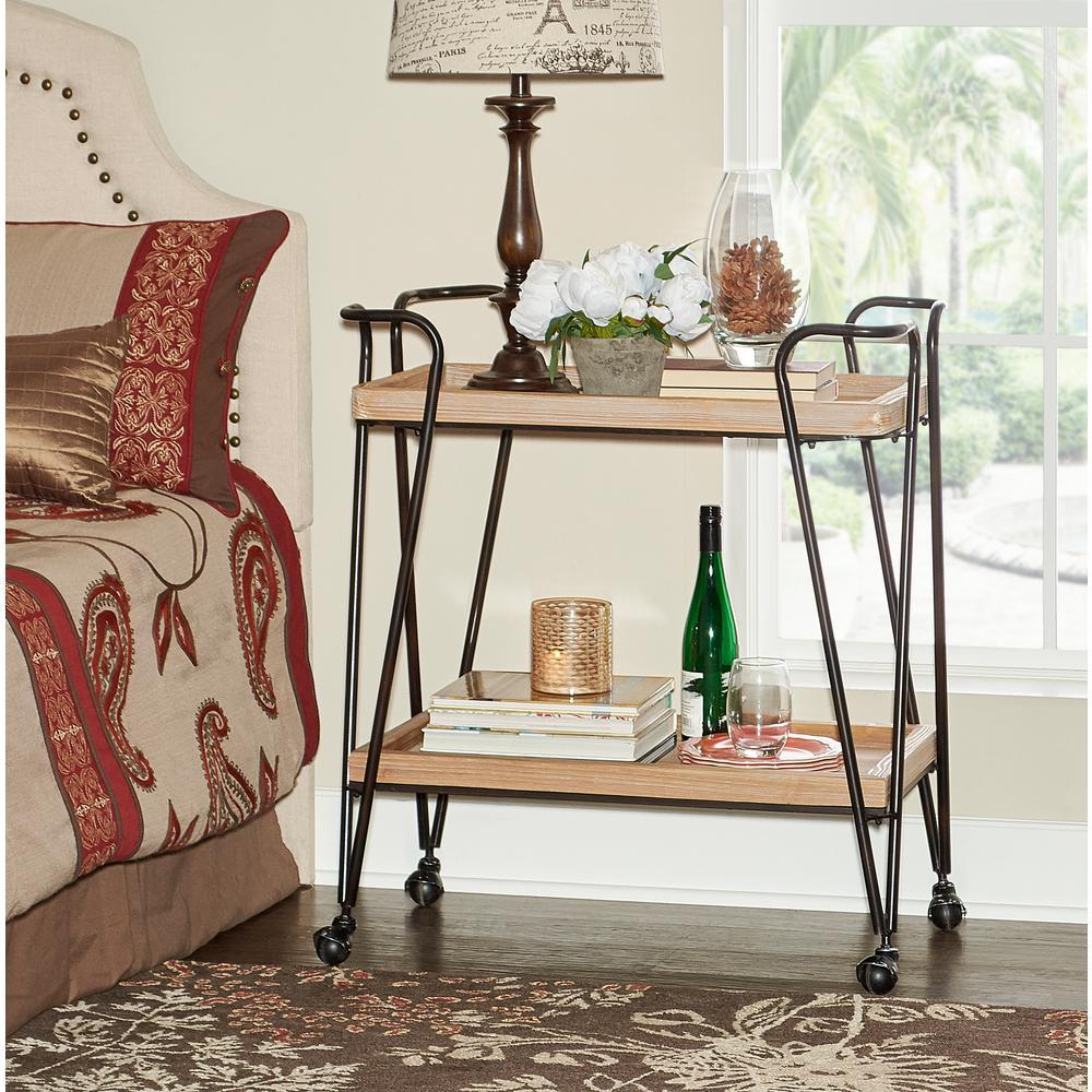Linon Home Decor Mid-Century Wood and Black Matte Rectangular Bar Cart