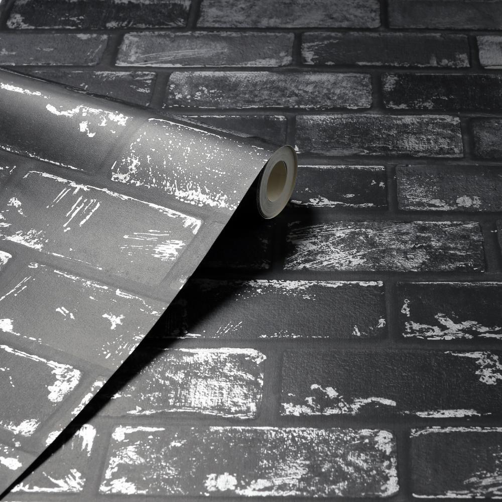 3D Effect Metallic Brick Wallpaper Black Silver Grey Stone Industrial Arthouse
