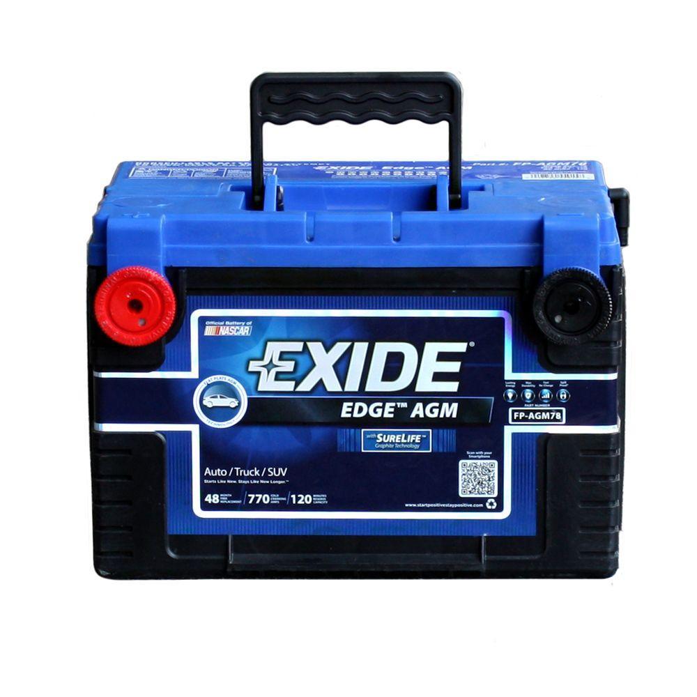 Exide Car Battery >> Exide Edge 12 Volts Lead Acid 6 Cell 78 Group Size 770 Cold Cranking Amps Bci Auto Agm Battery