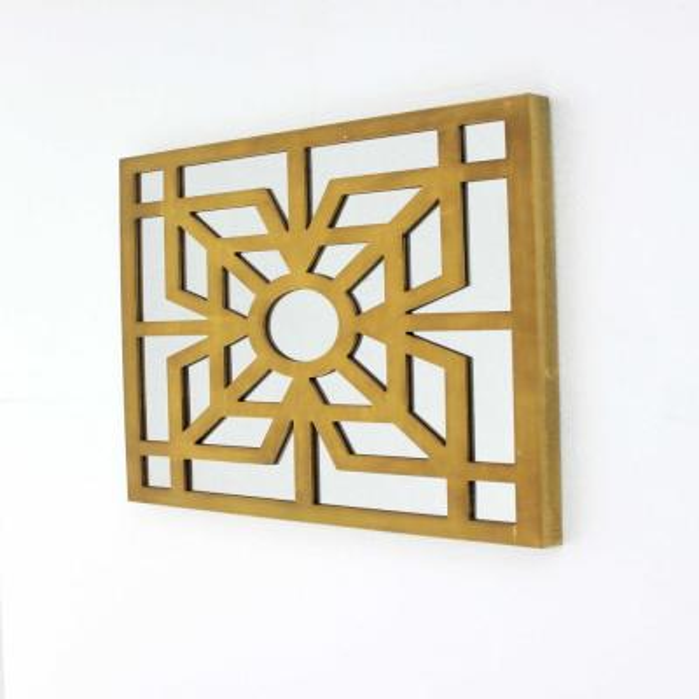 Mariana Bright Gold Modern Mirrored Wooden Wall Decor