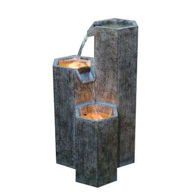 25 in. Tall Modern 3-Tiering Hexagonal Columns Fountain with LED Light