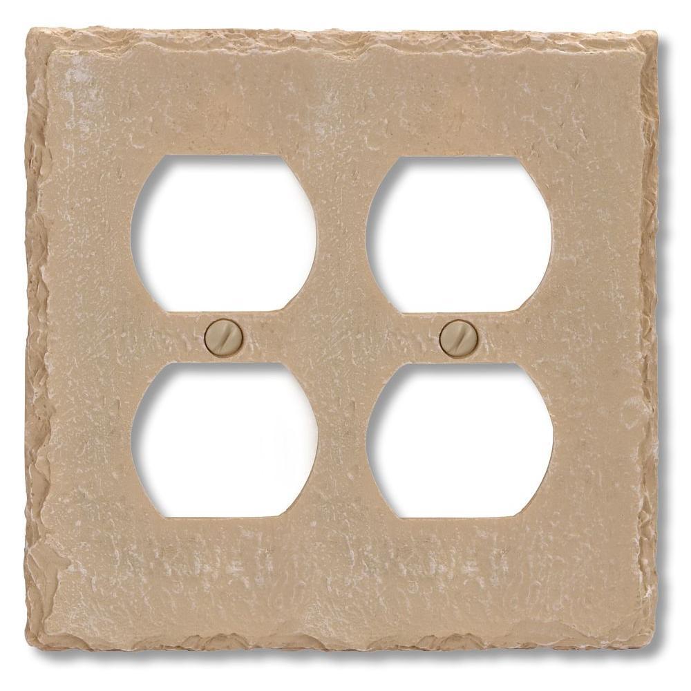 Faux Slate Resin 2 Duplex Wall Plate - Almond