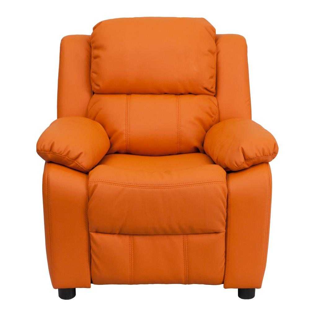 FLASH Deluxe Padded Contemporary Orange Vinyl Kids Reclin...