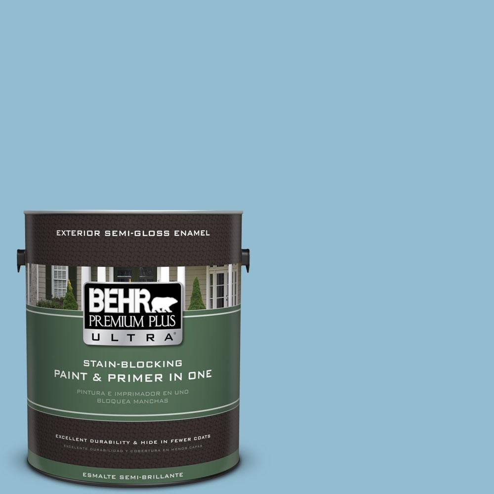 BEHR Premium Plus Ultra 1-gal. #S490-3 Reef Blue Semi-Gloss Enamel Exterior Paint