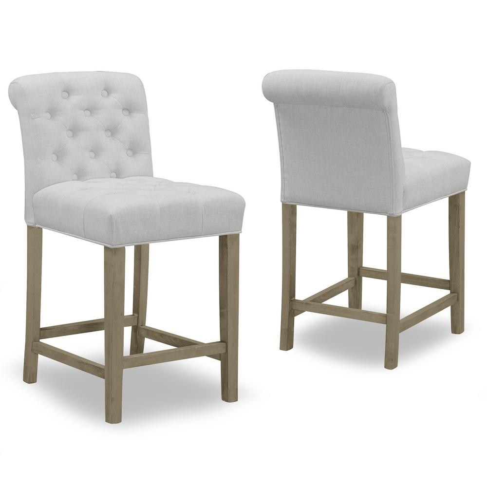 Glamour Home 24 In Aleen Beige Fabric With Roll Back Design And Tufted Buttons Counter Stool Set Of 2 Ghstl 1226 The Home Depot