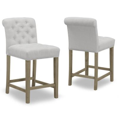 24 in. Aleen Beige Fabric with Roll Back Design and Tufted Buttons Counter Stool (Set of 2)