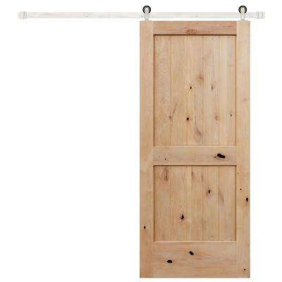 42 in. x 84 in. Rustic Unfinished 2-Panel V-Groove Knotty Alder Wood Barn Door with Stainless Sliding Door Hardware