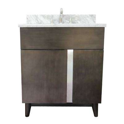 Mia 31 in. W x 22 in. D Bath Vanity in Brown with Marble Vanity Top in White with White Oval Basin