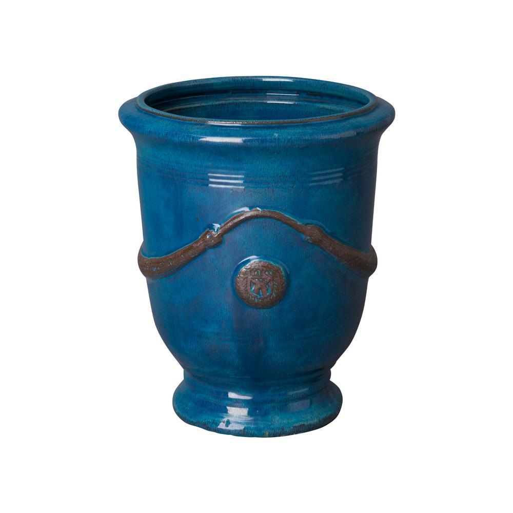 20 in. Round Turquoise Ceramic Anduze Planter