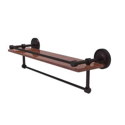 Prestige Regal Collection 22 in. IPE Ironwood Shelf with Gallery Rail and Towel Bar in Antique Bronze