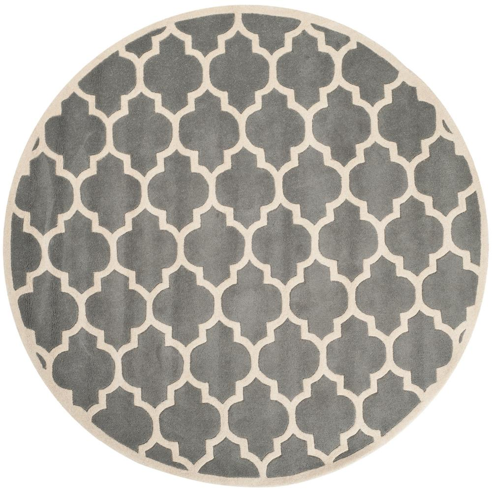 Chatham Dark Gray/Ivory 7 ft. x 7 ft. Round Area Rug