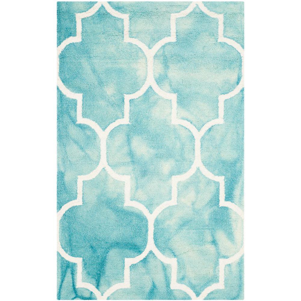 Safavieh Himalaya Turquoise Ivory 4 Ft X 6 Ft Area Rug: Safavieh Dip Dye Turquoise/Ivory 2 Ft. 6 In. X 4 Ft. Area