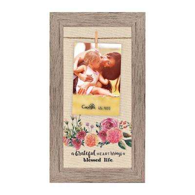 "Homespun Collection 4 in. x 6 in. Multi-Color Photos Barnwood Looking Frame ""A Grateful Heart"" Hanging Photo Frame"