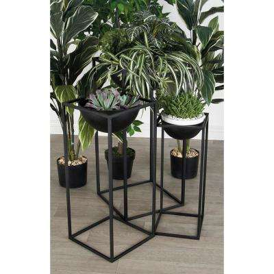 Matte Black Iron Rectangular-Framed Bowl Plant Stands (Set of 3)