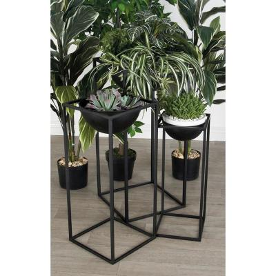 LITTON LANE Matte Black Iron Rectangular-Framed Bowl Plant Stands (Set of 3)