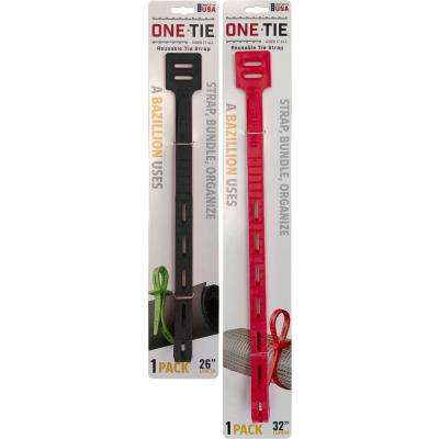 4-Piece Assorted Size Cable Ties, Multi-Color