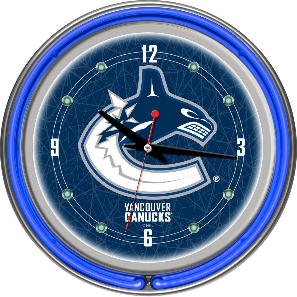 Trademark 14 in. Vancouver Canucks NHL Neon Wall Clock