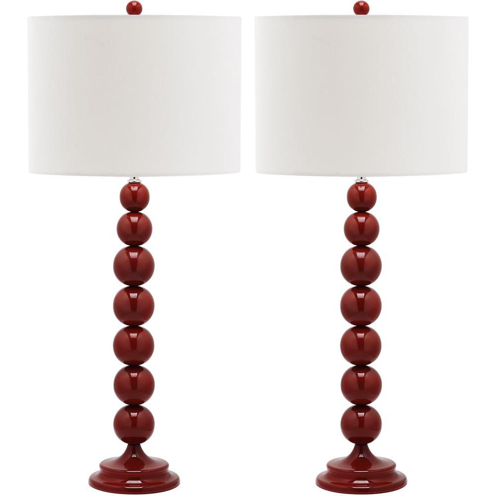 Jenna 31 in. Chinese Red Stacked Ball Lamp (Set of 2)