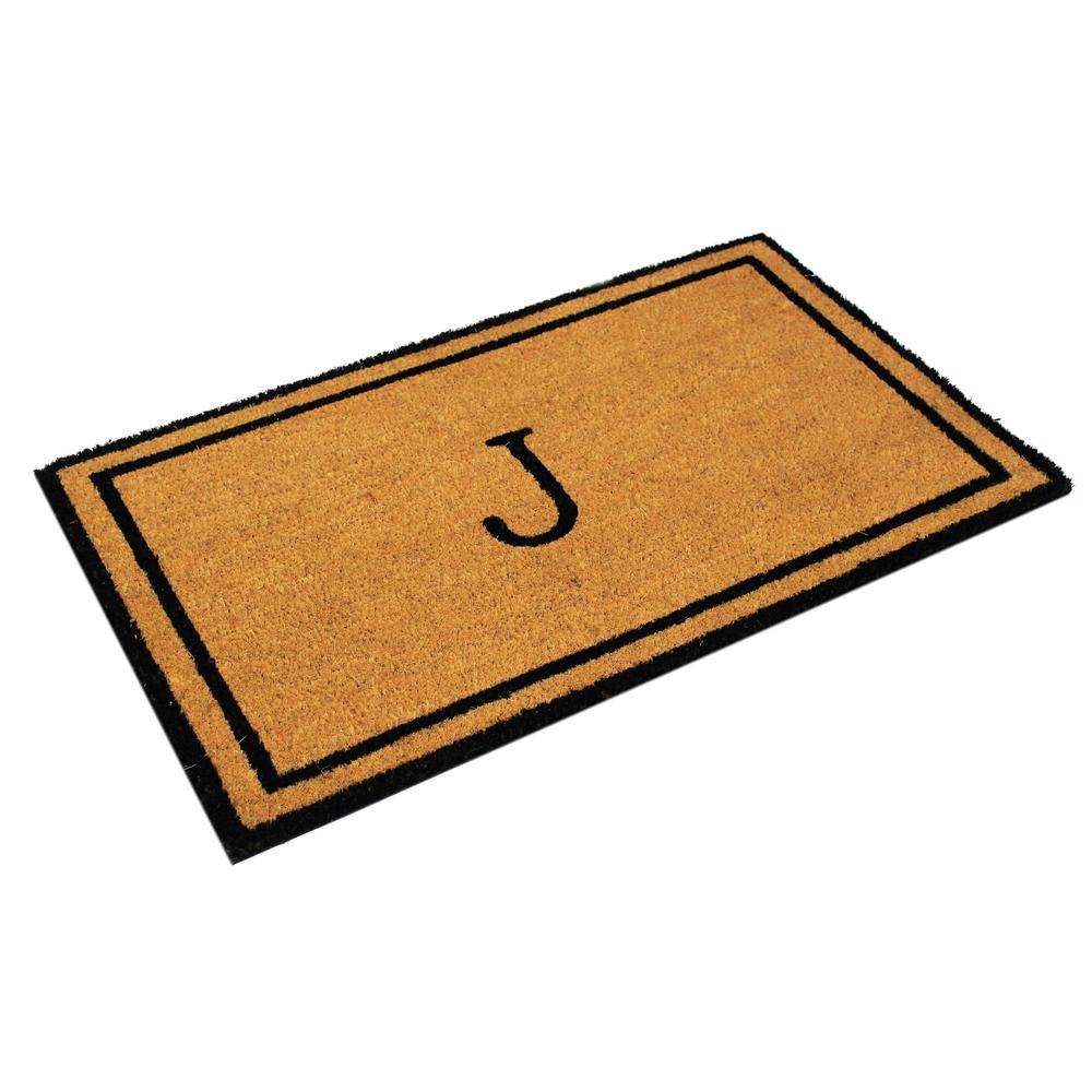 Envelor Customized Monogram Collection Letter J 30 In X 18 In Personalized Coir With Non Slip Backing Outdoor Welcome Door Mat En Vc 51526 J The Home Depot
