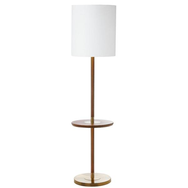 Brown Wood Floor Lamp With Attached End