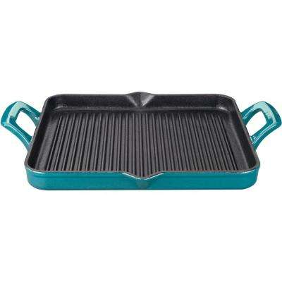 Rectangular 1 Qt. Cast Iron Grill Pan with Enamel in High Gloss Teal