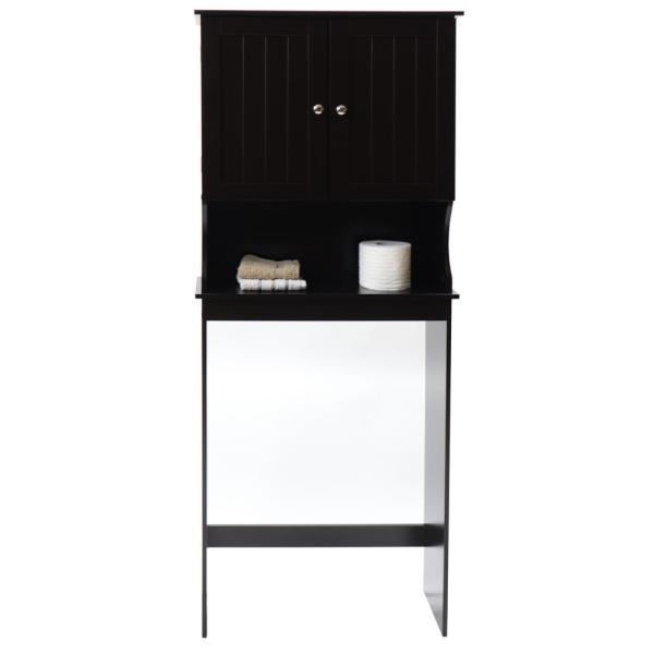 Contemporary Country 23.6 in. W x 62 in. H x 8.88 in. D Space Saver with Wainscot Panels in Espresso