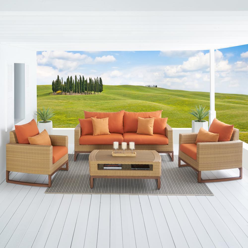 Mili 4-Piece Wicker Patio Conversation Deep Seating Set with Sunbrella Tikka Orange Cushions