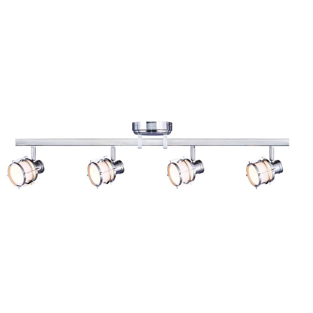 Led Track Light Fixture: Hampton Bay 4-Light Pewter Integrated LED Track Lighting