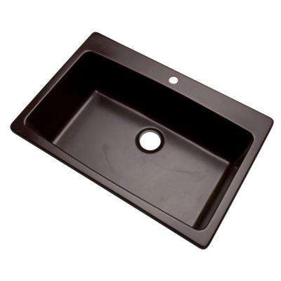 Rockland Dual Mount Composite Granite 33 in. 1-Hole Single Bowl Kitchen Sink in Espresso