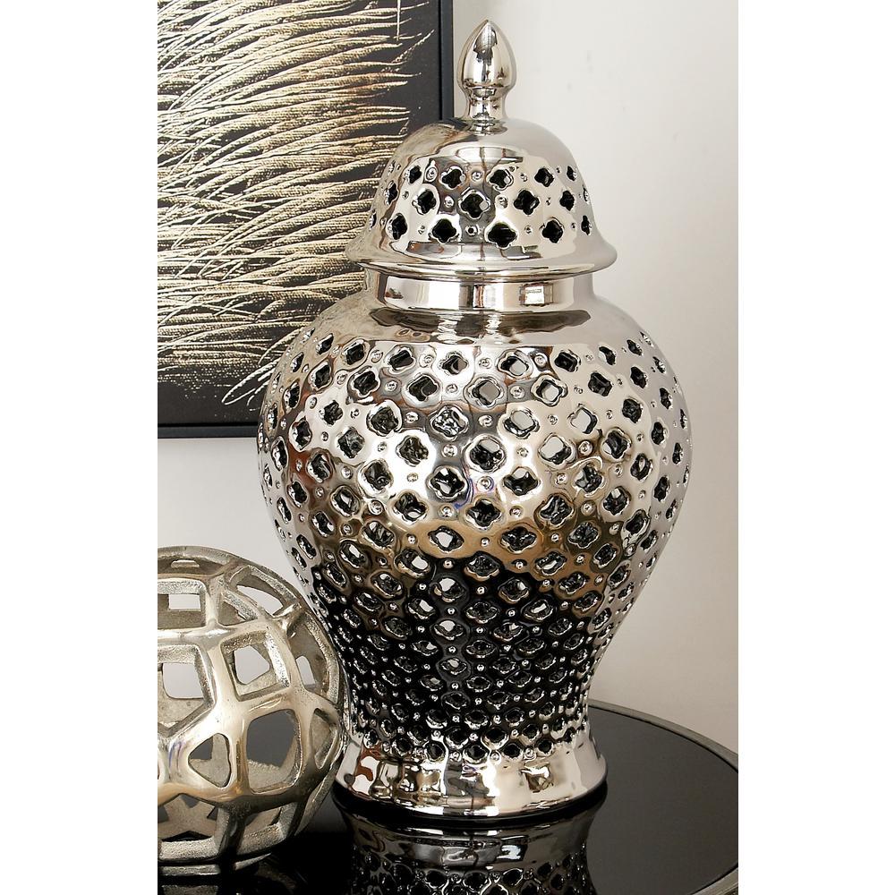 8 inch x 15 inch Silver Ceramic Decorative Jar by