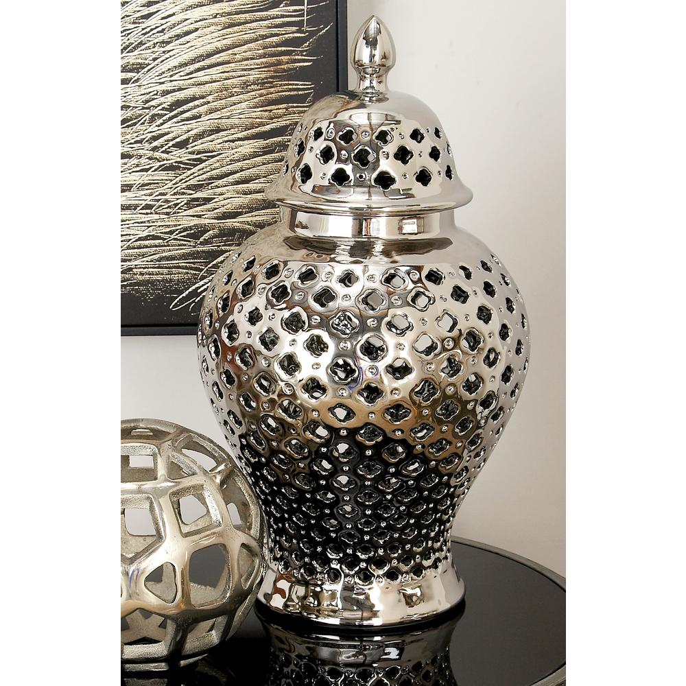 8 in. x 15 in. Silver Ceramic Decorative Jar