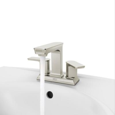 Forsey 4 in. Centerset 2-Handle Bathroom Faucet with Easy Install Push Drain in Brushed Nickel