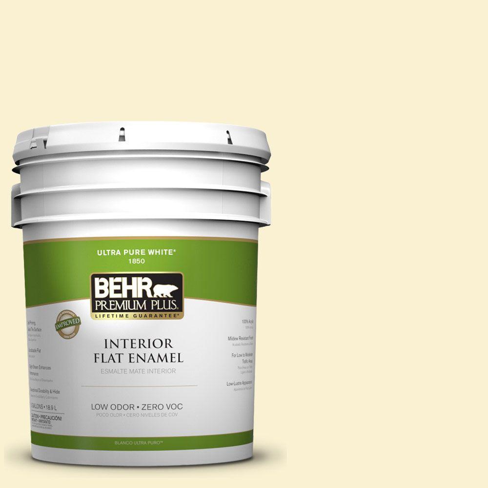 BEHR Premium Plus 5-gal. #ICC-30 Cashmere Sweater Zero VOC Flat Enamel Interior Paint-DISCONTINUED
