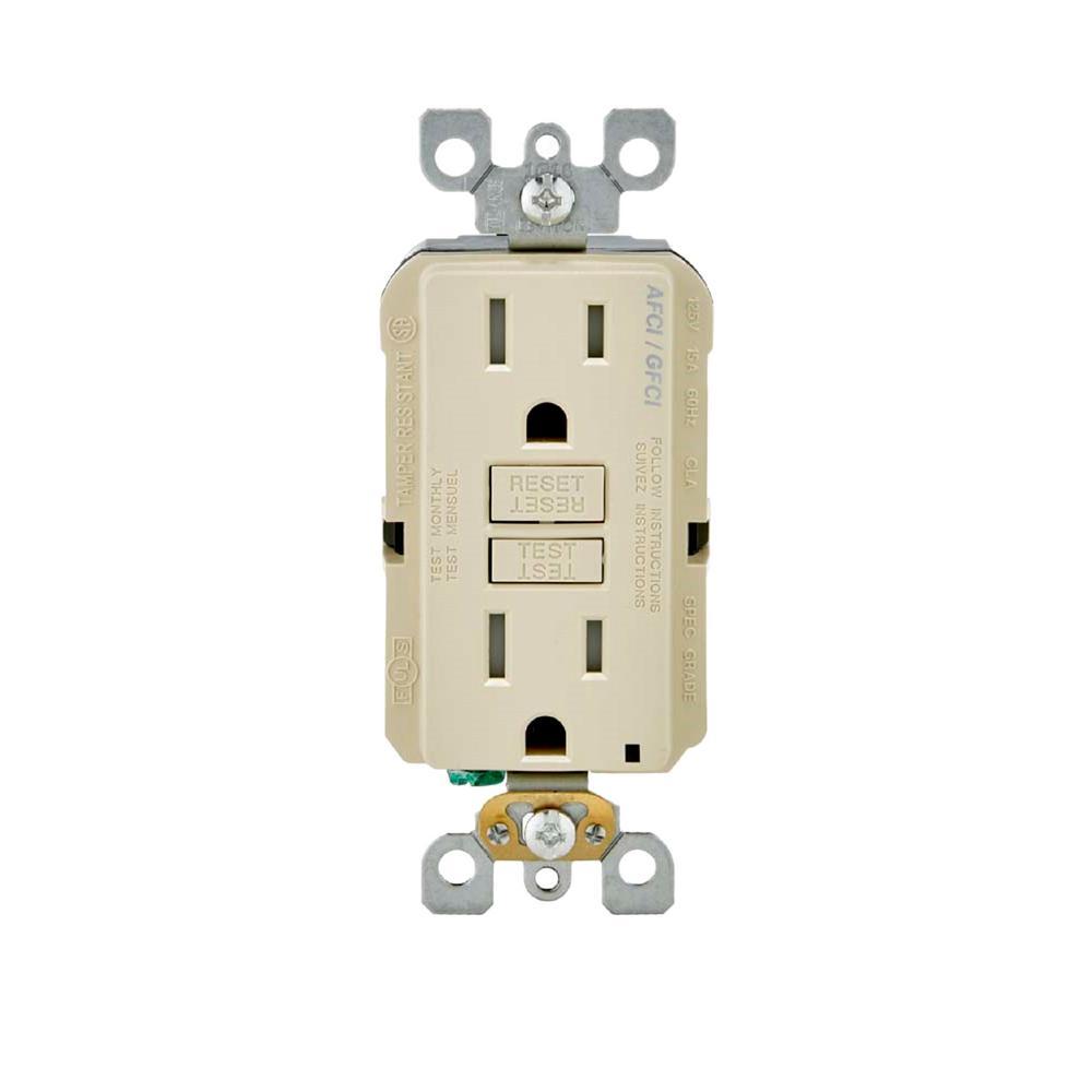 15 Amp 125-Volt AFCI/GFCI Dual Function Outlet, Ivory