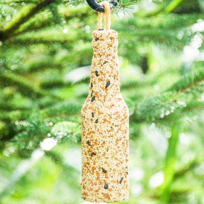 Backyard Brew Bottle Shaped Birdseed with Burlap Hanger (4-Pack)