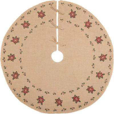 48 in. Jute Burlap Poinsettia Natural Tan Holiday Decor Tree Skirt
