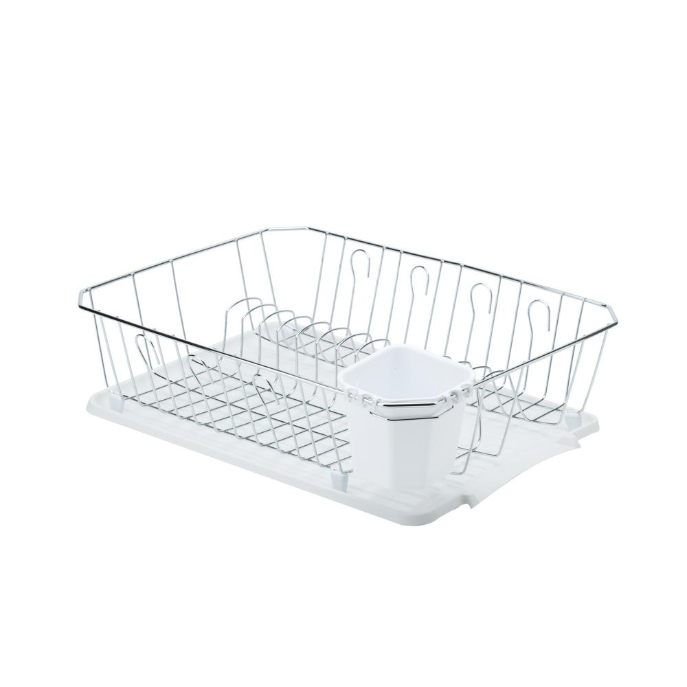 White kitchen details chrome 3 piece set dish rack