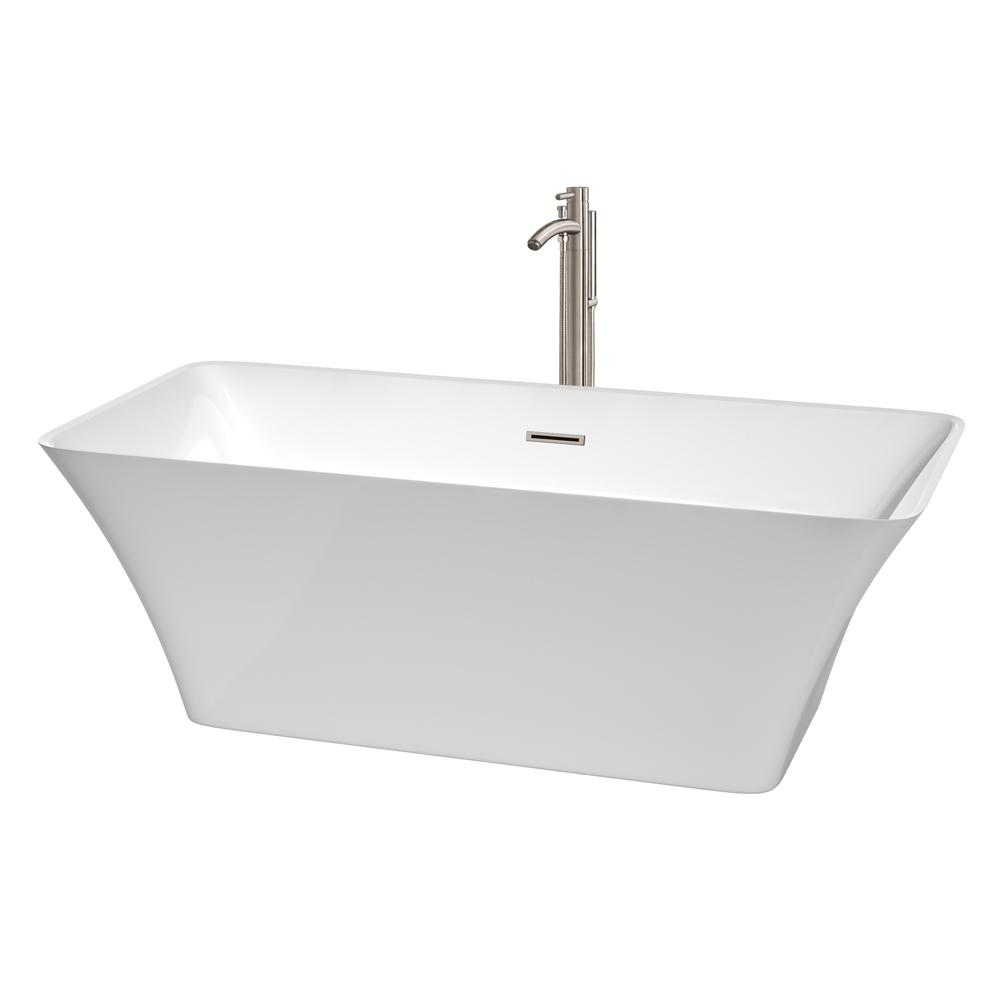 Wyndham Collection Tiffany 5.6 ft. Acrylic Flatbottom Non-Whirlpool Bathtub in White with Brushed Nickel Trim and Faucet
