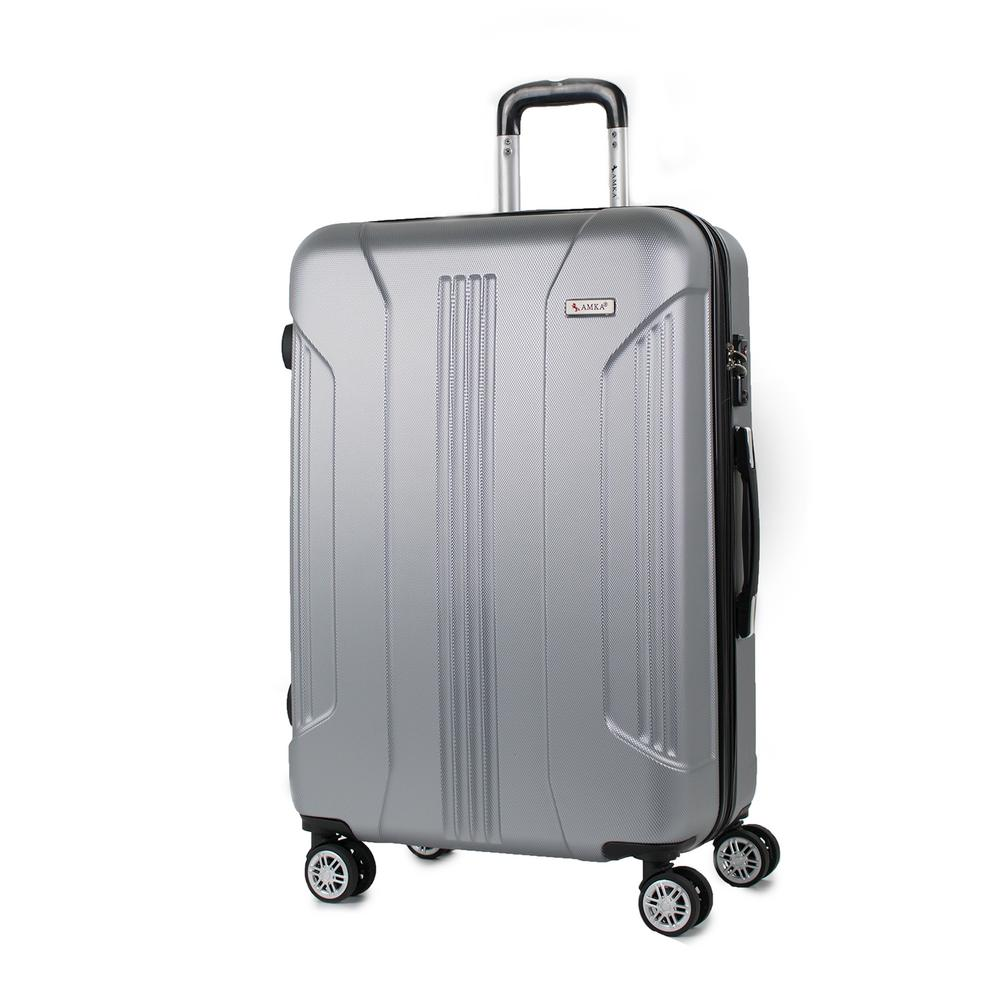 Sierra Silver 26 in. Expandable Hardside Spinner Luggage with TSA Lock