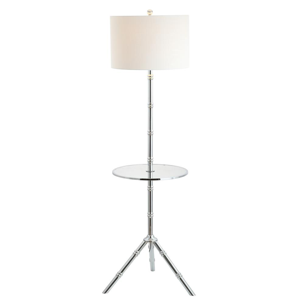 Jonathan Y Hall 62 In Chrome Metal End Table Floor Lamp