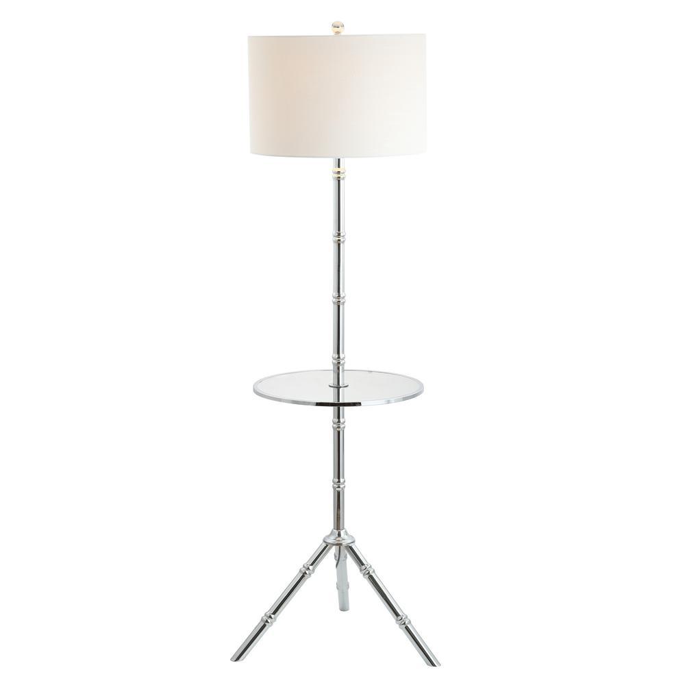 JONATHAN Y Hall 62 in. Chrome Metal End Table Floor Lamp ...