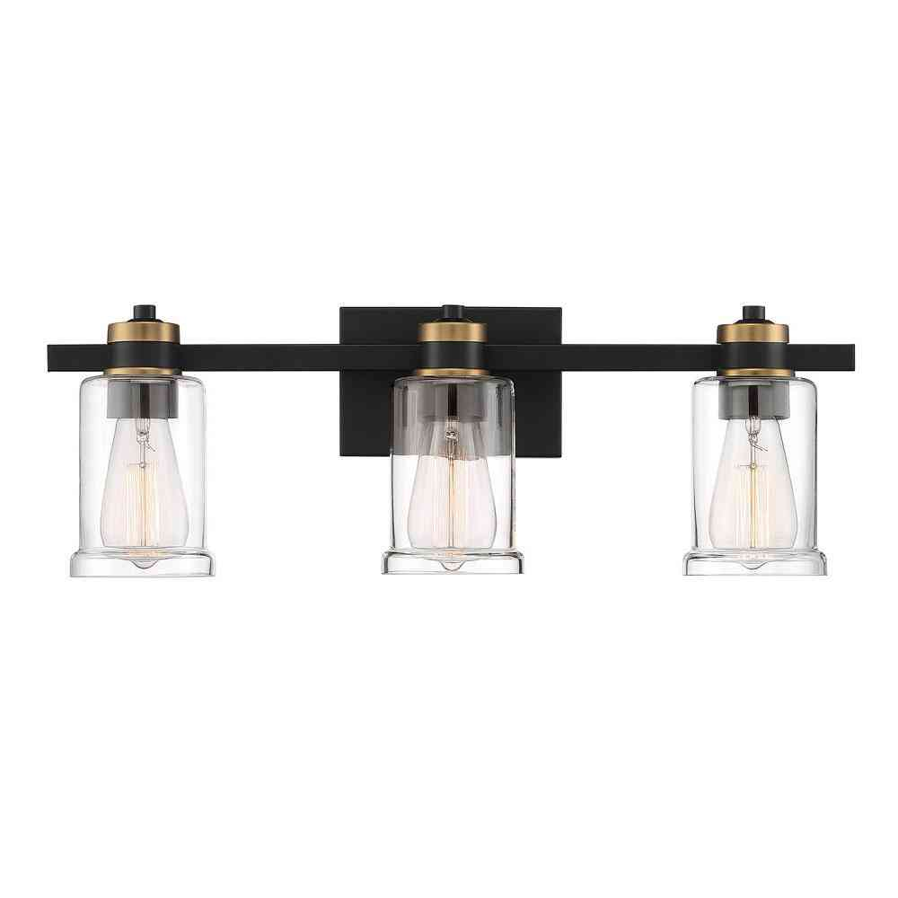 Cordelia Lighting 23 in. 3-Light Black Vanity Light with Clear - Sale: $52.47 USD (30% off)