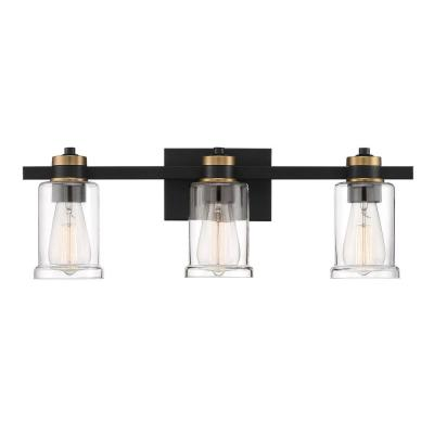 23 in. 3-Light Black Vanity Light with Clear Glass Shades